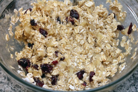 ... oats, applesauce, maple syrup, flaxseed meal, and dried cranberries