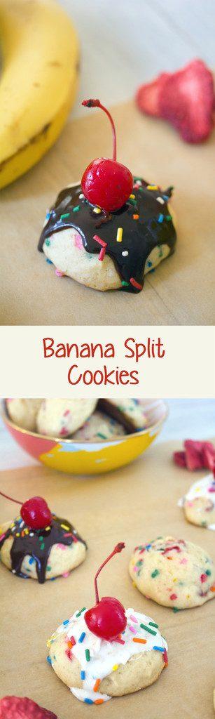 Banana Split Cookies -- Banana strawberry cookies with chocolate sauce, marshmallow, sprinkles, and a cherry on top! | wearenotmartha.com