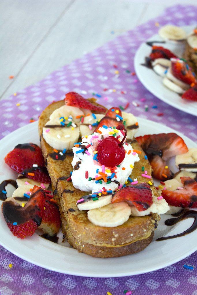 Banana Split French Toast -- A classic dessert reinvented for breakfast | wearenotmartha.com