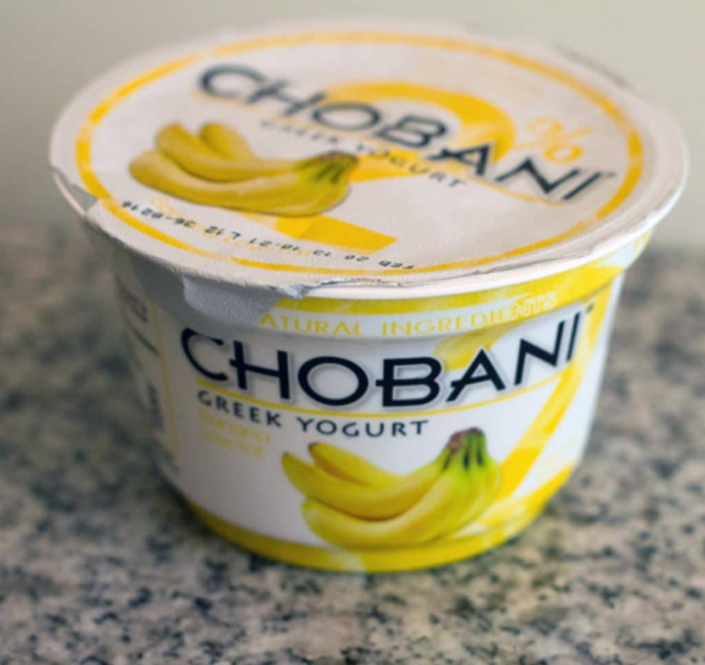 A container of Banana Chobani Greek Yogurt