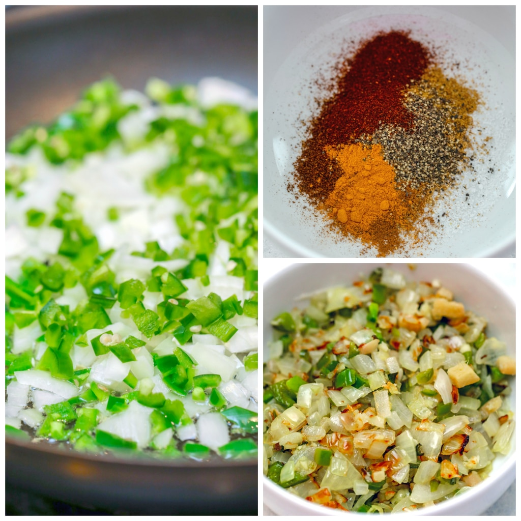 Collage showing process for making basil chicken in coconut curry sauce, including curry spices in a white bowl, onion and jalapeño cooking in a skillet, and onion and jalapeño with garlic cooked and resting in a bowl
