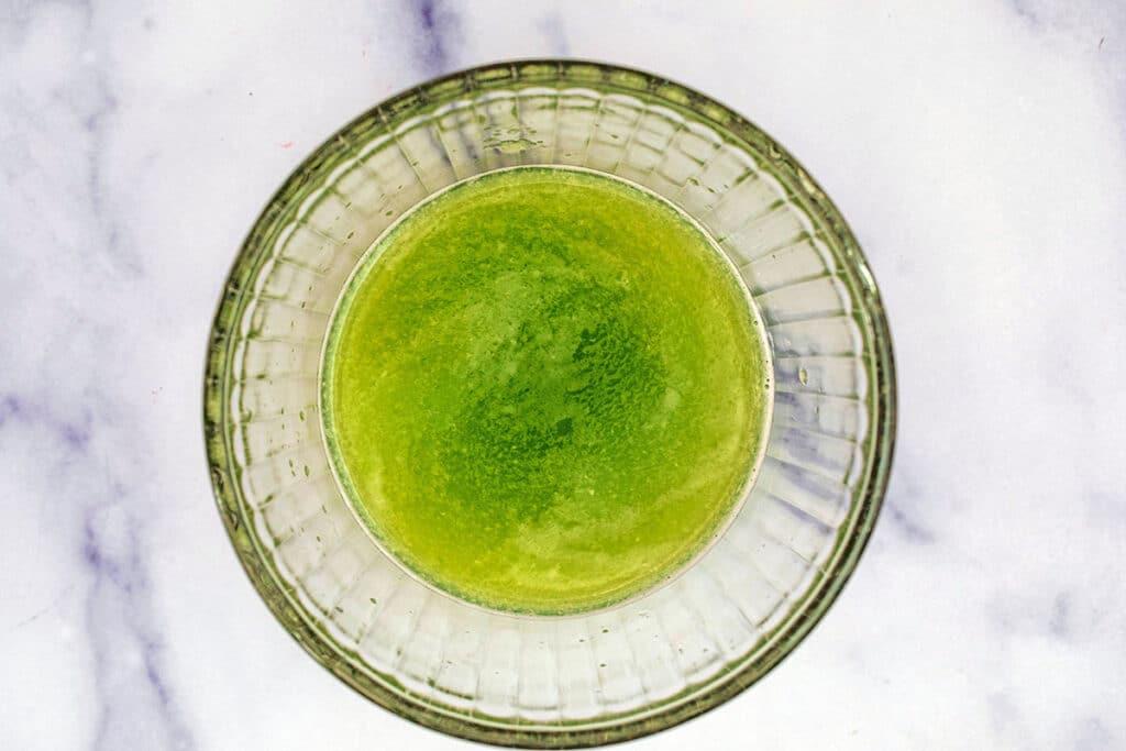 Cucumber juice in bowl