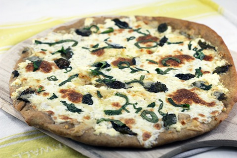 White Four-Cheese Pizza With Basil And Garlic Recipes — Dishmaps