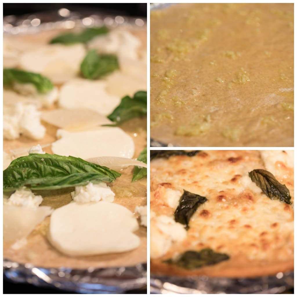Collage showing process for making pizza, including dough rolled out with garlic; mozzarella, ricotta, parmesan, and basil on dough; and pizza baked and just out of the oven