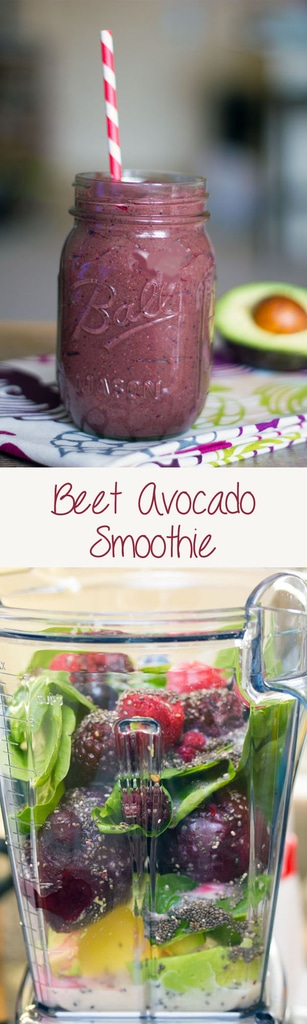 Beet Avocado Smoothie -- Have you ever had a beet smoothie? Don't be scared! This smoothie is packed with sweet flavor from beets, avocado, berries, and spinach and is a healthy addition to your diet | wearenotmartha.com #beets #smoothie #beetsmoothie #avocado #healthy