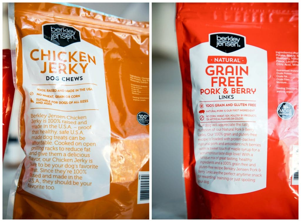 A collage showing Chicken Jerky treats bag and Pork and Berry Links treat bag