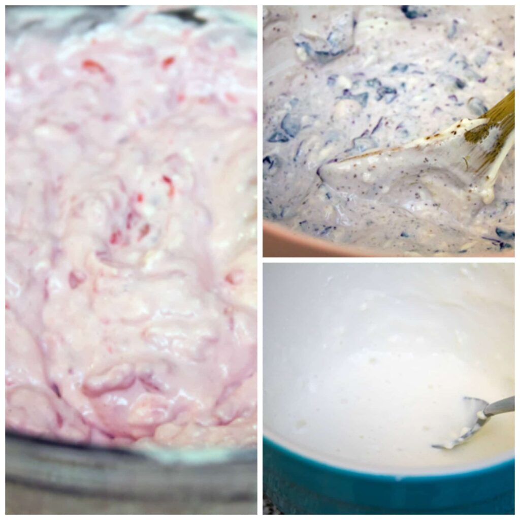 Collage showing raspberry and Greek cream cheese mixture, blueberry and Greek cream cheese mixture, and Greek cream cheese and milk mixture