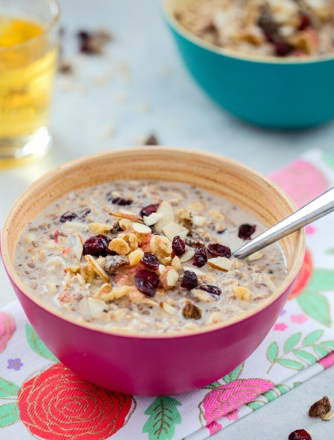 Bircher Muesli -- an incredibly satisfying and versatile breakfast that will get you out of bed in the morning! Mix up the grains, dried fruits, and nuts you use; choose a dairy or dairy alternative; and add a dollop of Greek yogurt and splash of apple juice for a breakfast you'll never get bored of | wearenotmartha.com