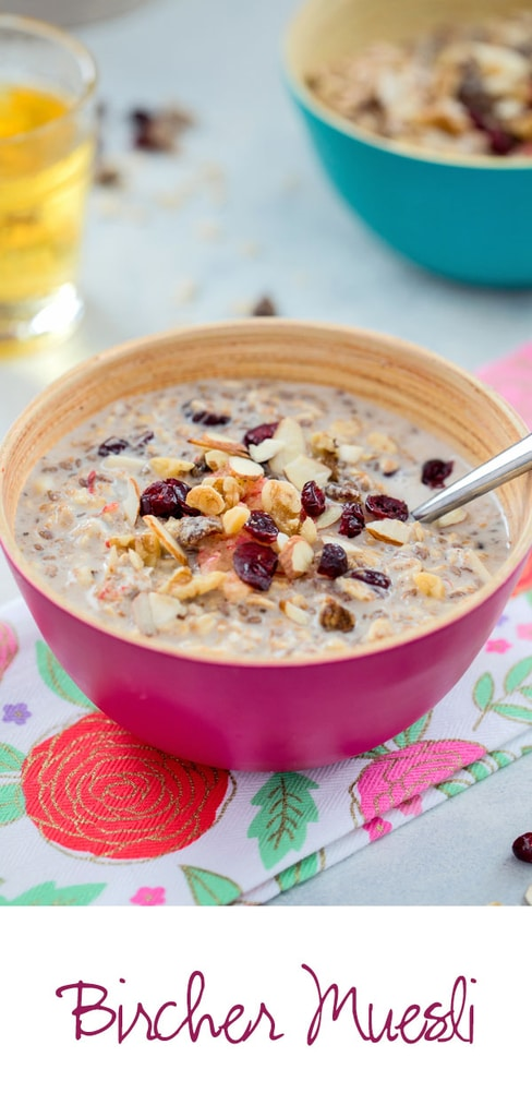 Bircher Muesli -- an incredibly satisfying and versatile breakfast that will get you out of bed in the morning! Mix up the grains, dried fruits, and nuts you use; choose a dairy or dairy alternative; and add a dollop of Greek yogurt and splash of apple juice for a breakfast you'll never get bored of | wearenotmartha.com #breakfast #cereal #muesli #birchermuesli #healthy