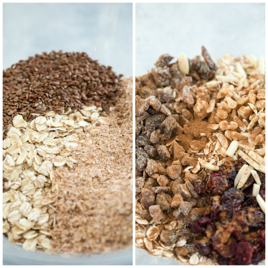 Collage showing oat, bran, and flax, in bowl and also showing additions of dried fruit, nuts, and cinnamon