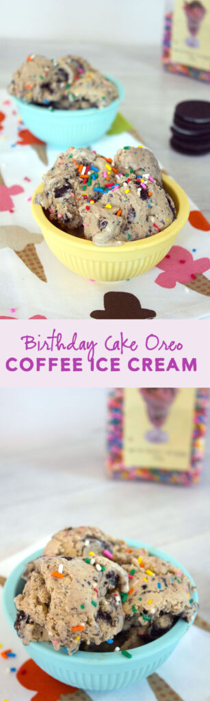 Birthday Cake Oreo Coffee Ice Cream -- This coffee ice cream is fit for any kind of celebration! | wearenotmartha.com