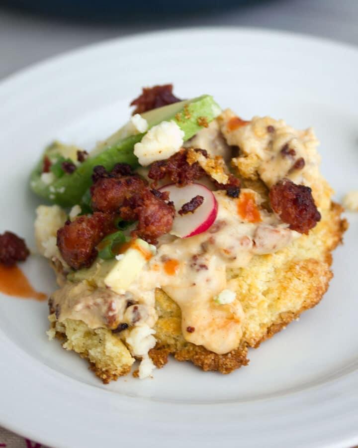 Cornmeal Biscuits with Chorizo Gravy -- The breakfast I never knew I loved | wearenotmartha.com