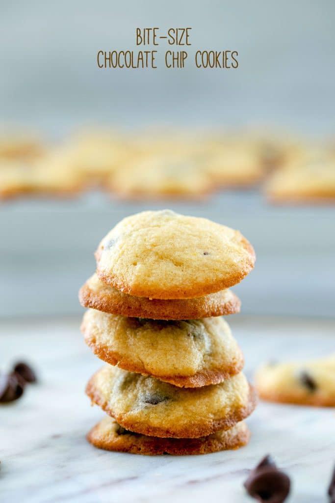 "Head-on view of five bite-size chocolate chip cookies stacked on top of each other with chocolate chips and more cookies in the background and ""Bite-Size Chocolate Chip Cookies"" text at top"