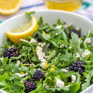 Blackberry Feta Salad -- The sweet, salty, tart, and peppery flavors in this Blackberry Feta Salad all work incredibly well together and it makes for a simple summer side dish or appetizer | wearenotmartha.com