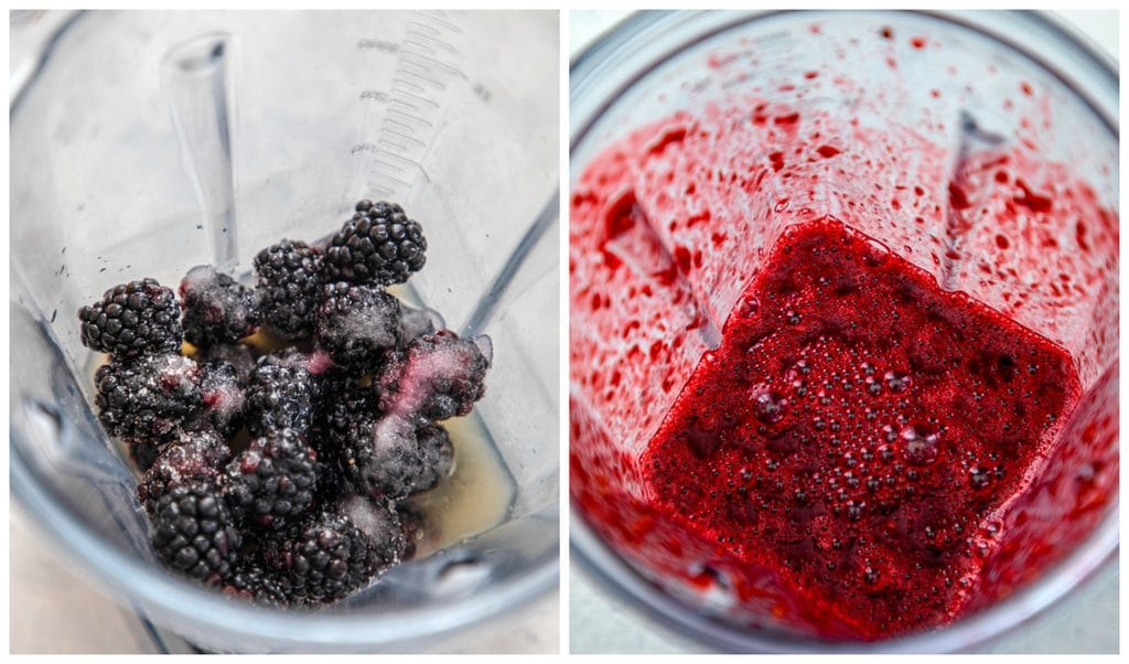 Collage showing process for making blackberry lemonade margaritas, including blender with blackberries, lemon juice, and sugar and mixture all blended together