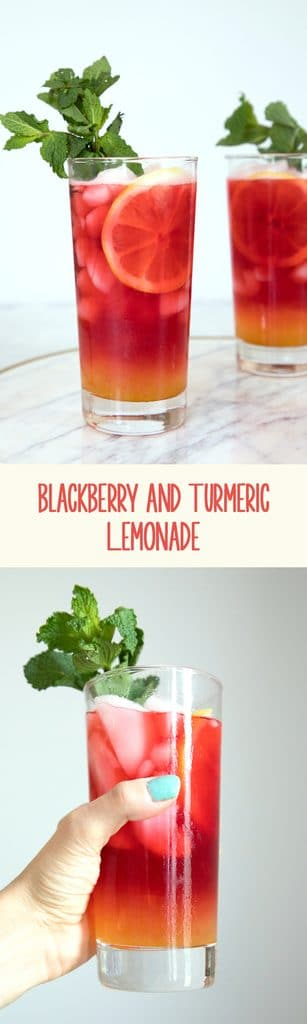Blackberry and Turmeric Lemonade -- This lemonade is not only the prettiest drink around, but it's incredibly tasty and refreshing and perfect for a backyard party | wearenotmartha.com