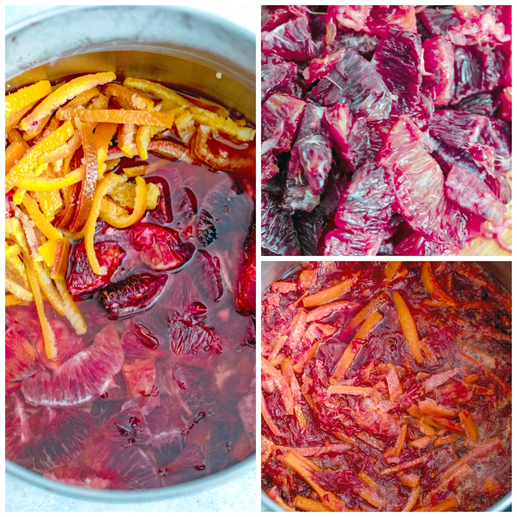Collage showing process for cooking blood orange habanero marmalade, including blood orange flesh sectioned, blood orange sections and sliced peels in pot of water, and mixture reaching gel stage in pot