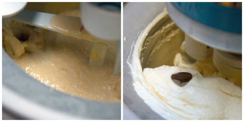 Collage showing blood orange ice cream being processed in ice cream machine