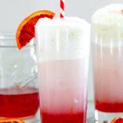 Blood Orange Ice Cream Soda -- Don't let blood orange season pass you by without enjoying a Blood Orange Ice Cream Soda, made with just 5 simple ingredients! wearenotmartha.com