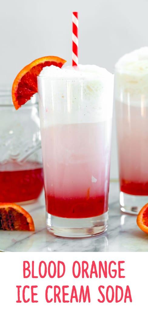 Blood Orange Ice Cream Soda -- Don't let blood orange season pass you by without enjoying a Blood Orange Ice Cream Soda, made with just 5 simple ingredients! wearenotmartha.com #bloodoranges #icecreamsoda #simplesyrup