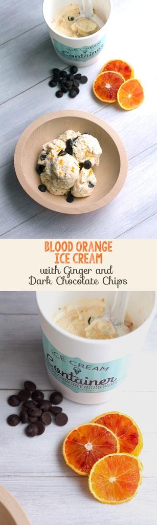 Blood Orange Ice Cream with Ginger and Dark Chocolate Chips | wearenotmartha.com