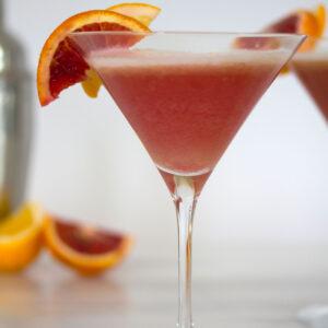 Blood Orange Meyer Lemon Gin Sour -- A vibrantly colored winter citrus cocktail | wearenotmartha.com