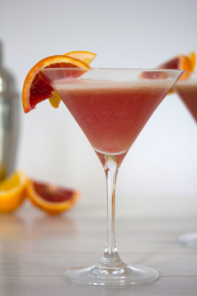 Blood Orange Meyer Lemon Gin Sour -- A vibrantly colored winter citrus cocktail | wearenotmartha.com