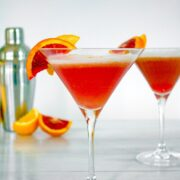 Winter citrus combines with gin and a little maple syrup for this Blood Orange Meyer Lemon Gin Sour. The vibrant color of a blood orange cocktail will always impress guests!