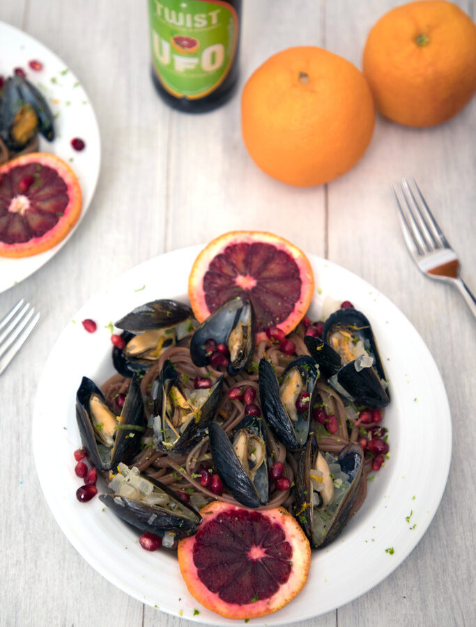 Blood Orange Mussels with Pomegranate Lime Linguine -- The perfect marriage of winter and summer | wearenotmartha.com