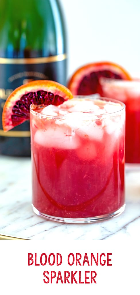 Blood Orange Sparkler -- This Blood Orange Sparkler is a simple blood orange cocktail with a splash of ginger ale and champagne. It's a lovely winter brunch cocktail, but can be enjoyed any time of day! | wearenotmartha.com #bloodoranges #cocktails #champagne