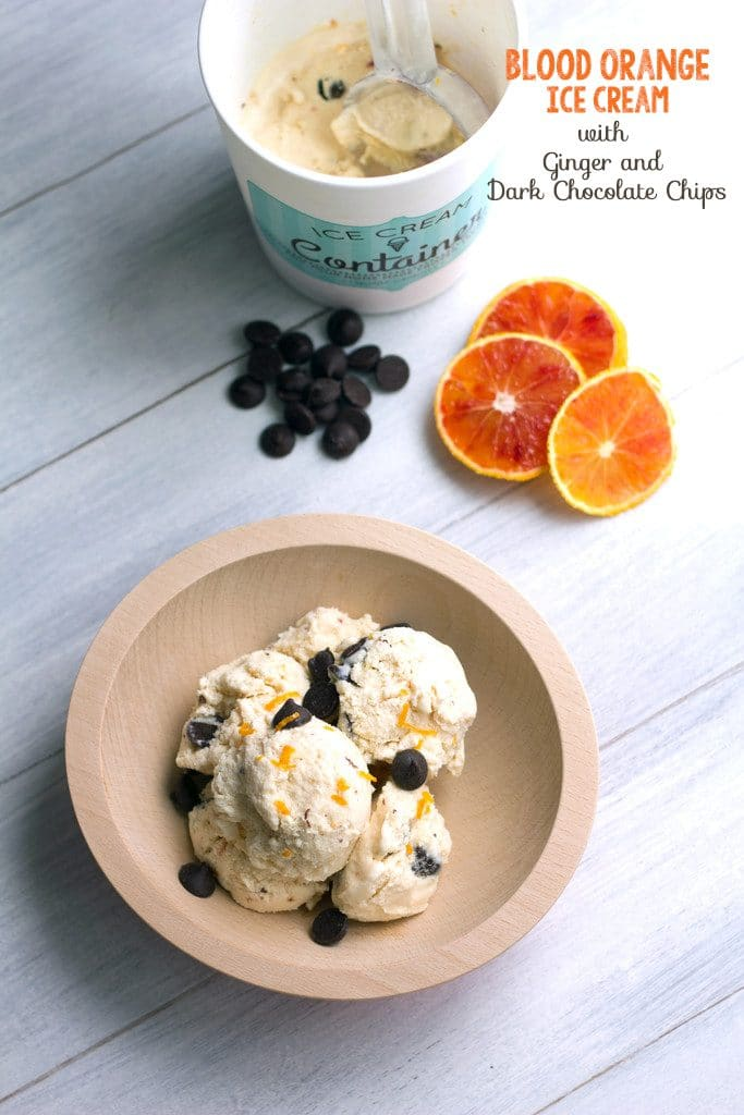 Blood Orange Ice Cream with Ginger and Dark Chocolate Chips | wearenotmartha.com
