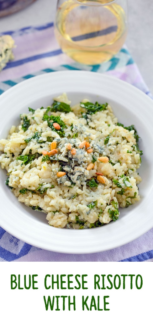 Blue Cheese Risotto with Kale -- This Blue Cheese Risotto with Kale is packed with creamy flavor and incredibly easy to make. Yes, risotto is the perfect weeknight dinner | wearenotmartha.com #risotto #bluecheese #kale