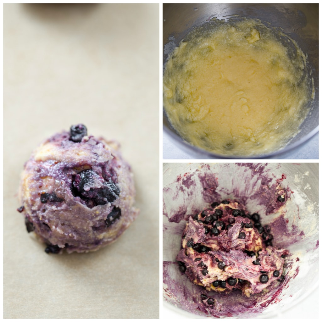 Collage showing the making of Blueberry Corn Toaster Cakes, including creaming the butter and sugar, folding the blueberries into the batter, and forming cookies on a cookie sheet