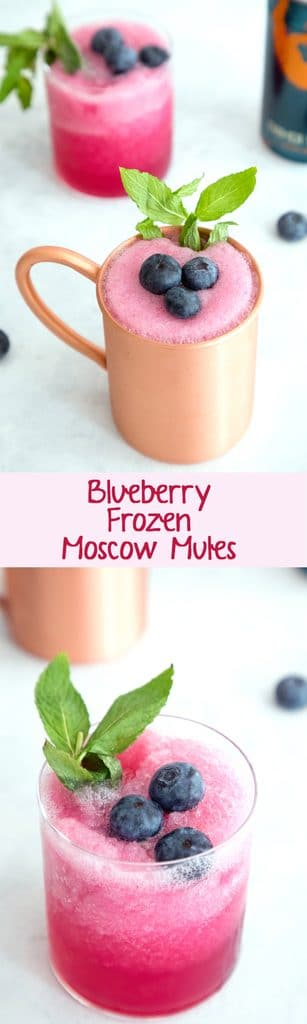 Blueberry Frozen Moscow Mules -- Ginger beer, vodka, and blueberry simple syrup are blended with crushed ice for this summertime frozen cocktail | wearenotmartha.com