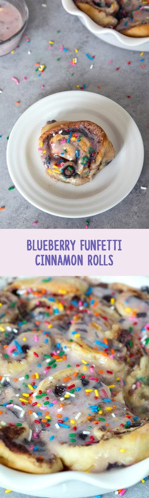 Blueberry Funfetti Cinnamon Rolls -- The perfect addition to brunch, these cinnamon rolls are packed with blueberries and rainbow sprinkles | wearenotmartha.com