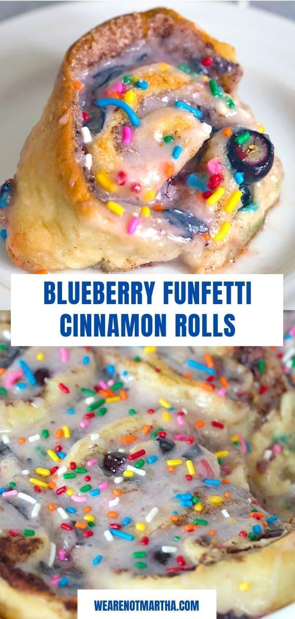 Blueberry Funfetti Cinnamon Rolls