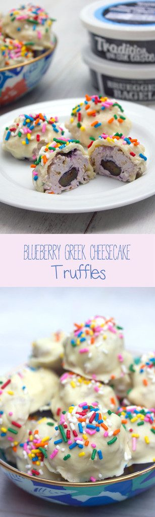 Blueberry Greek Cheesecake Truffles -- Blueberry cream cheese combined with fresh blueberries and graham crackers and dunked in white chocolate | wearenotmartha.com