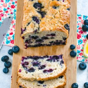 Blueberry Lemon Bread -- Need a little extra sunshine in your morning? This Blueberry Lemon Bread makes for a bright and delicious breakfast or afternoon snack and pairs perfectly with tea or coffee   wearenotmartha.com