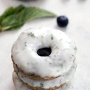 Blueberry Mojito Doughnuts -- These blueberry doughnuts take the classic flavors of a mojito and turn them into a cocktail-themed treat that's perfectly acceptable to enjoy with your morning coffee | wearenotmartha.com