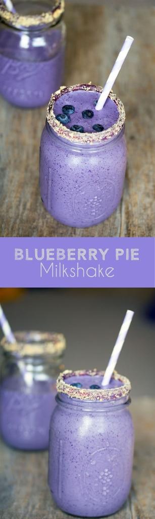 Blueberry Pie Milkshake -- Craving blueberry pie à la mode? This Blueberry Pie Milkshake will satisfy that craving in a much quicker way | wearenotmartha.com