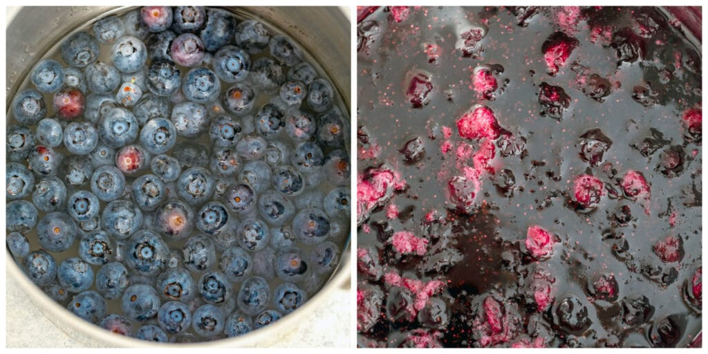 Collage showing process for making blueberry simple syrup, including blueberries simmering in water and sugar and blueberries broken down in simple syrup