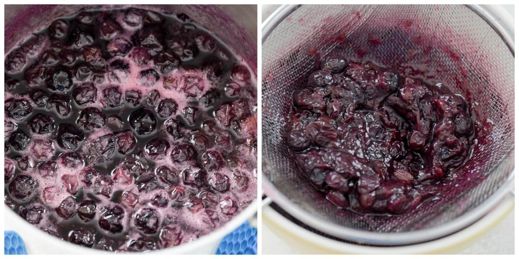 Collage showing blueberry simple syrup making process, including simple syrup boiling in saucepan and simple syrup being strained into bowl