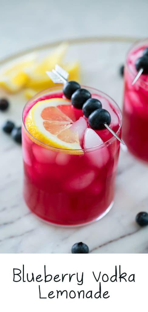 Blueberry Vodka Lemonade -- There's nothing quite like a glass of cold lemonade on a hot summer day. Unless it's a glass of cold Blueberry Vodka Lemonade! This summer cocktail is the perfect balance of tart and sweet and can also easily be made into a blueberry lemonade mocktail   wearenotmartha.com #vodka #lemonade #cocktail #blueberry #summer #mocktail