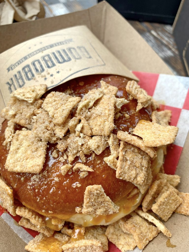 Overhead view of the Caramel Apple Gelato Sandwich topped with Cinnamon Toast Crunch from BomboBar in Chicago