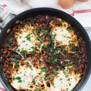 Boston Baked Beans and Eggs -- This skillet breakfast or dinner takes comfort food to new levels | wearenotmartha.com