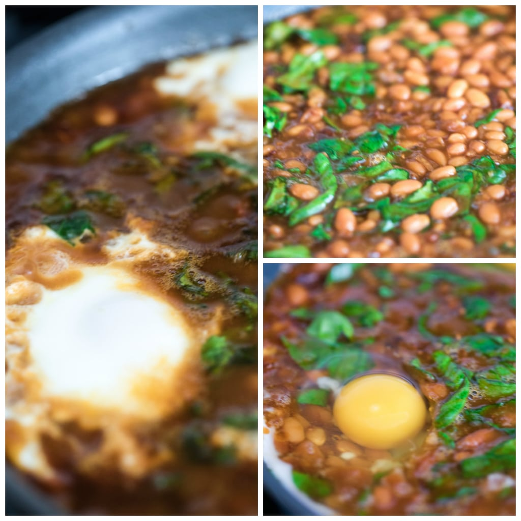 Collage showing baked beans in skillet with spinach mixed in and eggs cooking over beans