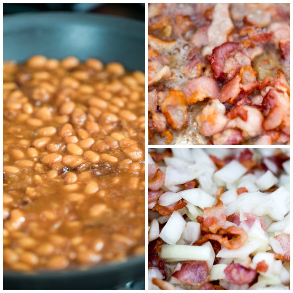 Collage showing baked beans cooking in Instant Pot, including bacon browning, onion cooking, and baked beans after cooking