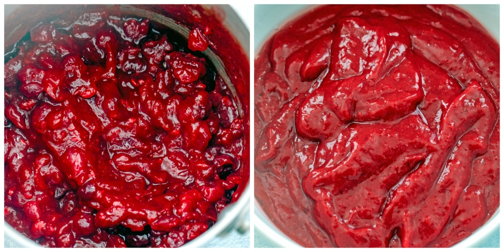 Collage showing process for making bourbon cranberry sauce, including bourbon cranberry sauce just cooked and sauce pureed in bowl