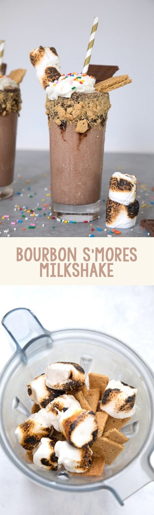 Bourbon S'mores Milkshake -- This milkshake combines all of your favorite components of s'mores along with chocolate ice cream and bourbon for the ultimate treat in a glass | wearenotmartha.com #milkshake #bourbon #smores #summer #icecream