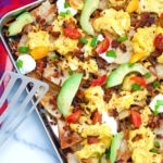 Nachos and coffee? With these Breakfast Nachos, made with pita chips, scrambled eggs, and bacon, you'll love the idea of eating nachos first thing in the morning!